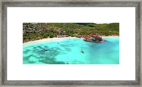 Panoramic View Of St.jean Bay In Framed Print