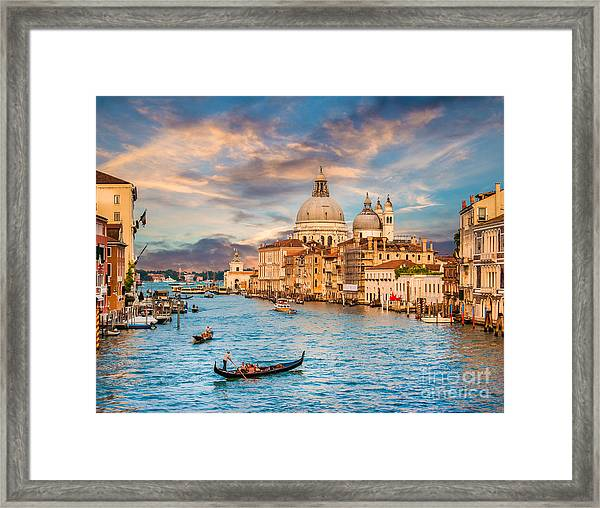 Panoramic View Of Traditional Gondola Framed Print