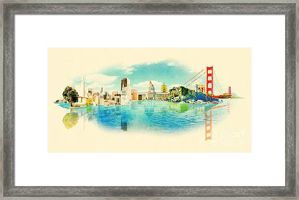 Panoramic Water Color Illustration San Framed Print