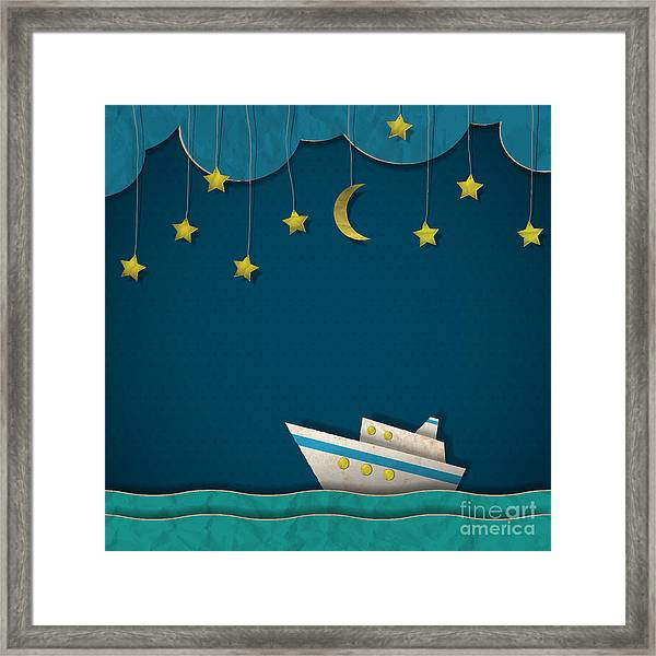 Paper Cruise Liner At Night. Creative Framed Print by A-r-t