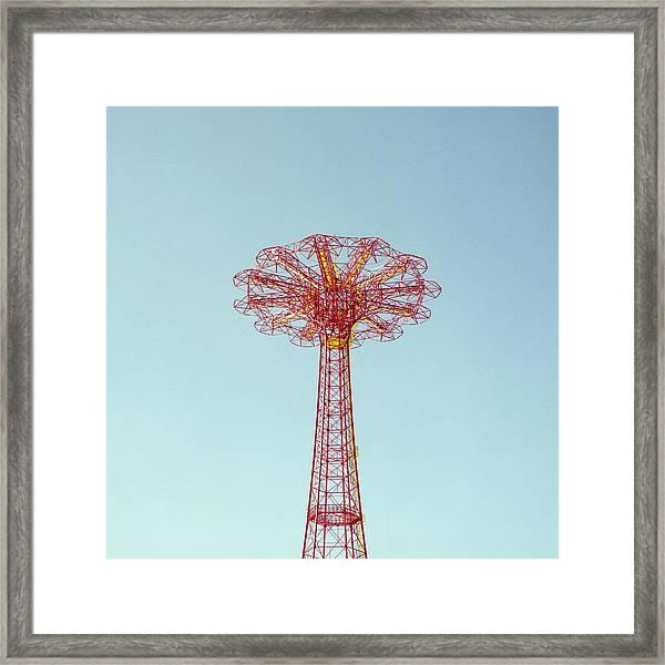 Parachute Tower Against Sky Framed Print