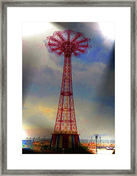 Parachuted Jump Framed Print