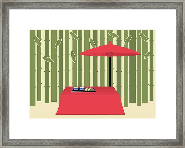 Parasol And Japanese Tea Set, Painting Framed Print
