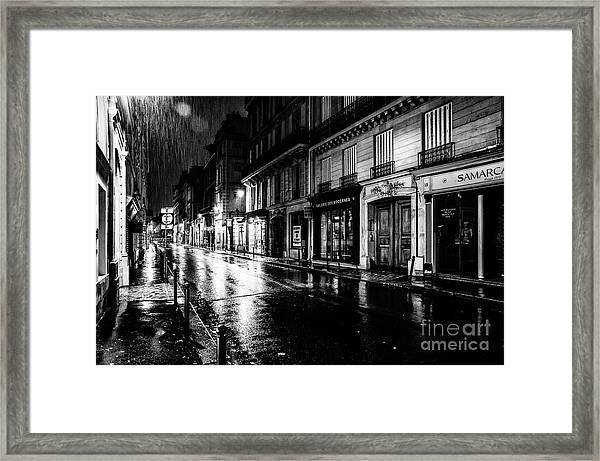 Paris At Night - Rue Saints Peres Framed Print