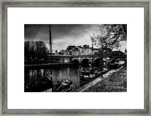 Paris At Night - Seine River Towards Pont Neuf Framed Print