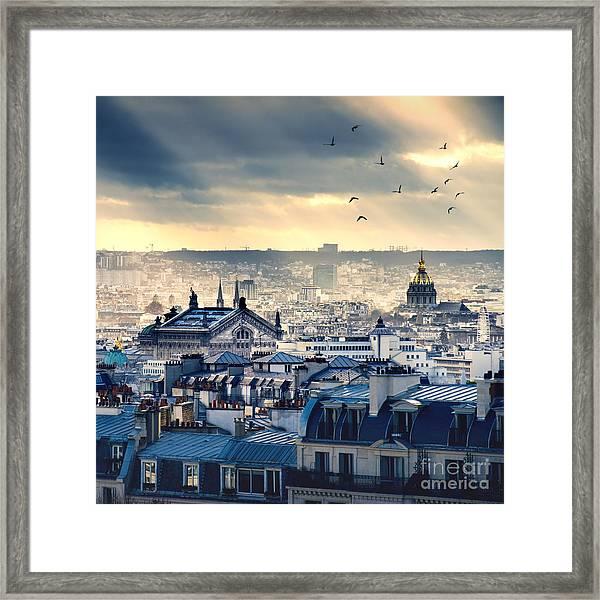 Paris Cityscape Taken From Montmartre Framed Print