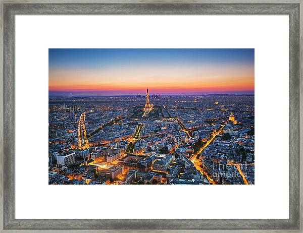 Paris, France At Sunset. Aerial View On Framed Print