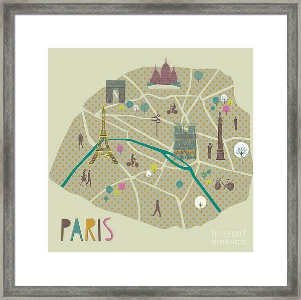 Paris Map Greeting Card Design Framed Print