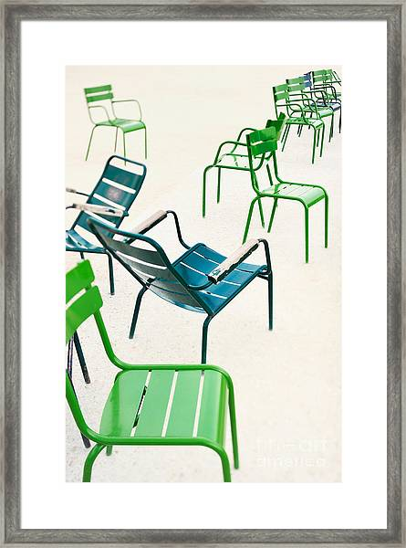Parisian Metallic Chairs In The City Framed Print