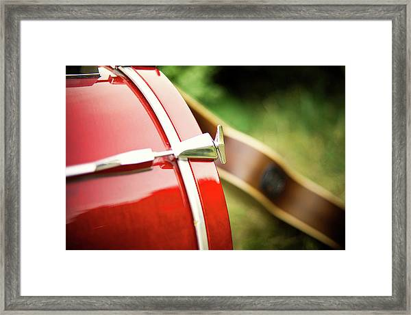 Part Of Red Bass Drum With Acoustic Framed Print