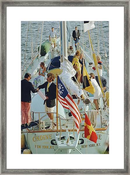 Party In Bermuda Framed Print by Slim Aarons