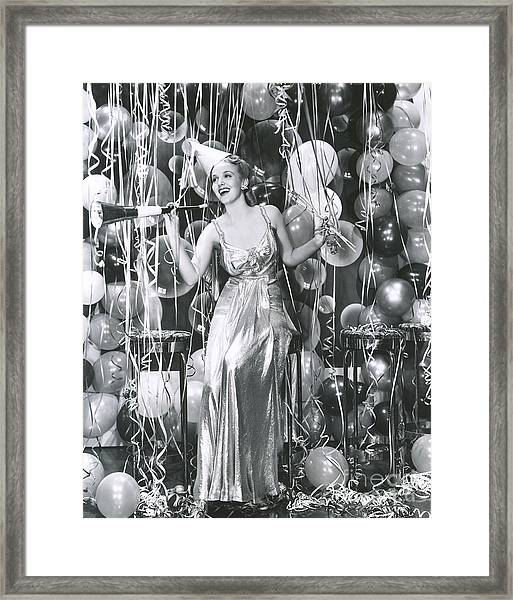 Partying Into The New Year Framed Print