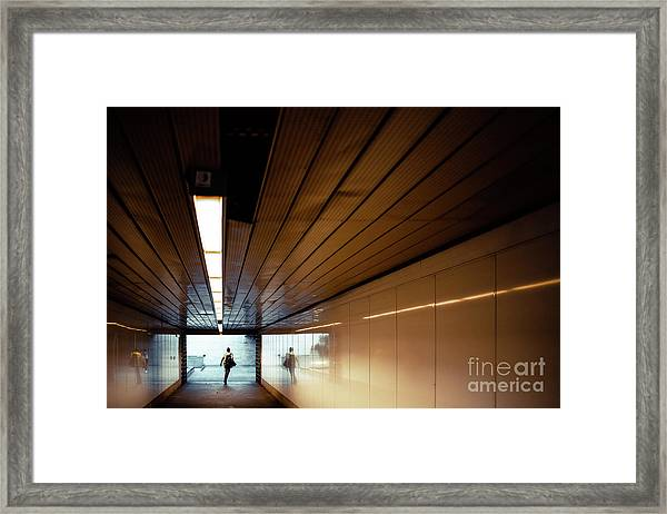 Passengers In A Hurry At The End Of A Tunnel At The Entrance To The Metro Station. Framed Print