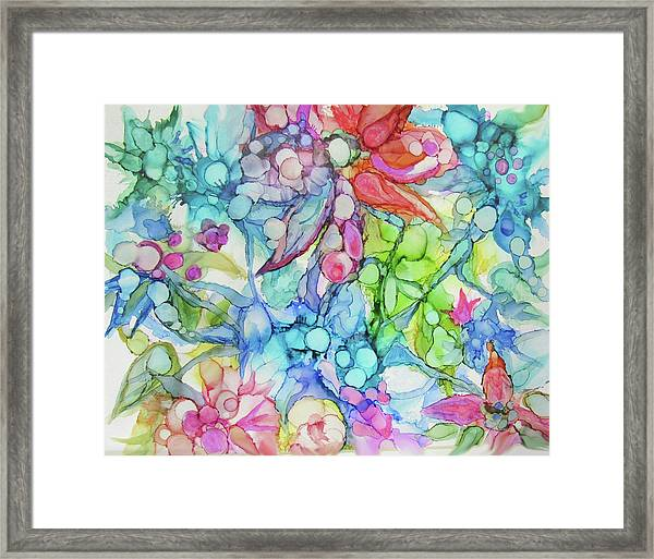Pastel Flowers - Alcohol Ink Framed Print