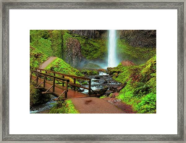 Framed Print featuring the photograph Path At Base Of Lautrolla Falls by Dee Browning