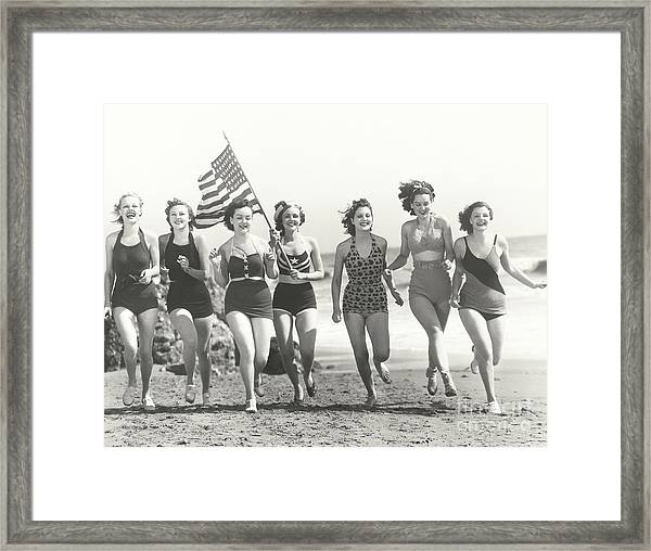 Patriotic Women At The Beach Framed Print