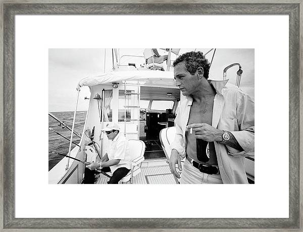 Paul Newman On A Fishing Boat Framed Print