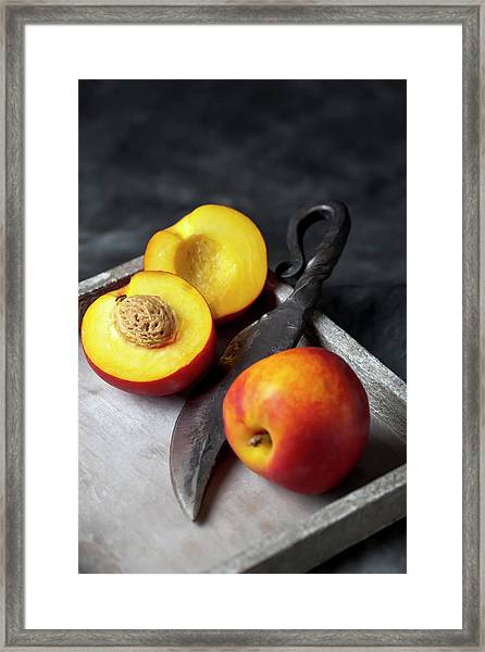 Peaches With Knife On Tray, Close Up Framed Print