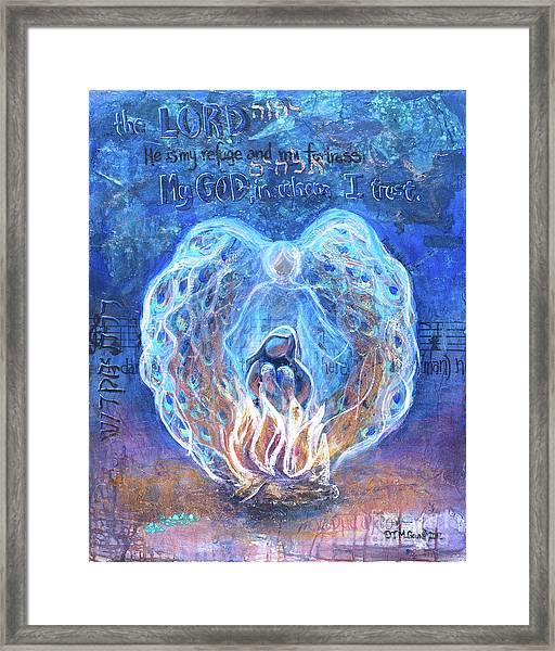 Peacock Angel    Cooler Version Framed Print