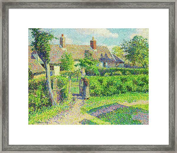 Peasants' Houses, Eragny - Digital Remastered Edition Framed Print
