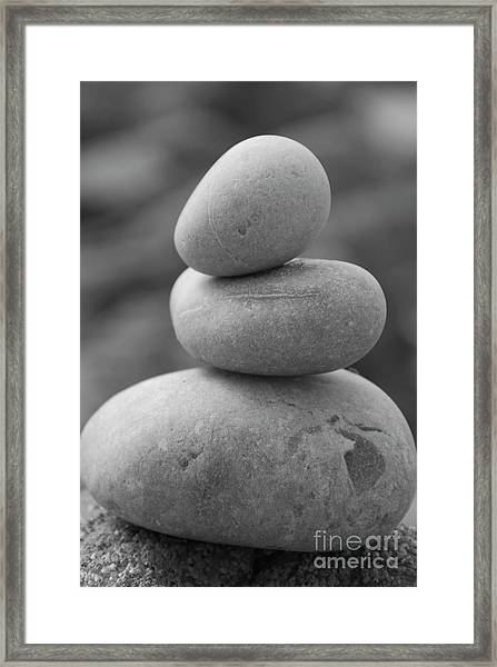 Pebbles In Black And White Framed Print