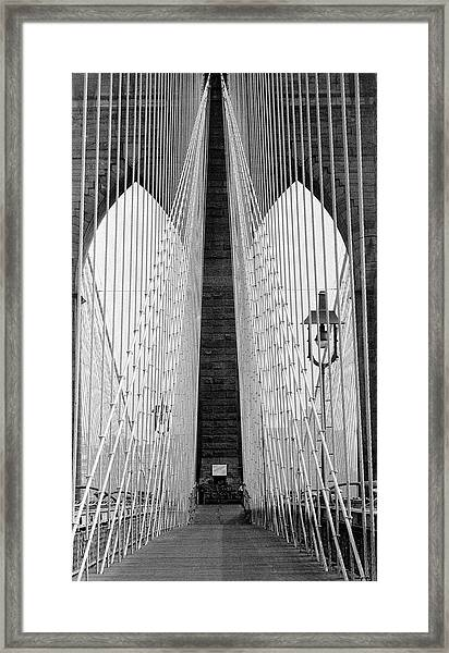 Pedestrian Walk On The Brooklyn Bridge Framed Print