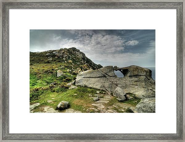 Pedra Da Campá. Islas Cies Framed Print