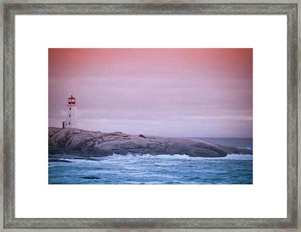 Peggys Cove Lighthouse At Dusk Framed Print