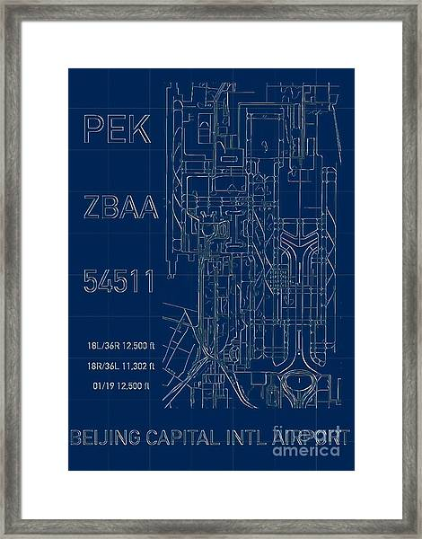 Pek Beijing Capital Airport Blueprint Framed Print