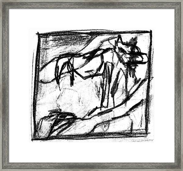 Pencil Squares Black Canine B Framed Print