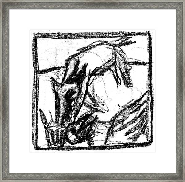 Pencil Squares Black Canine F Framed Print