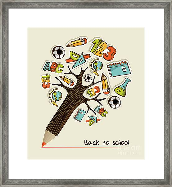 Pencil Tree Shaped Made With School Framed Print