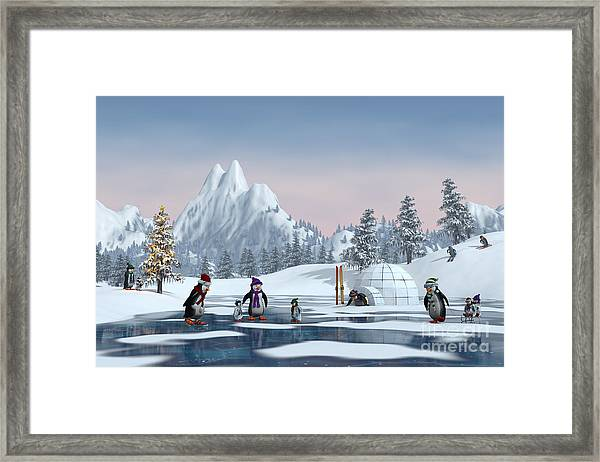 Penguins On A Frozen Lake In A Snowy Framed Print