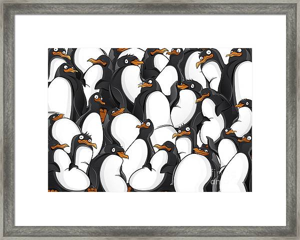 Penguins Pattern Framed Print