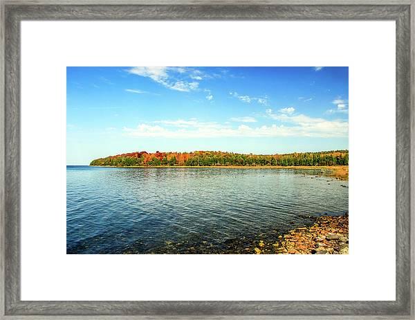Peninsula Shore In Fall Framed Print