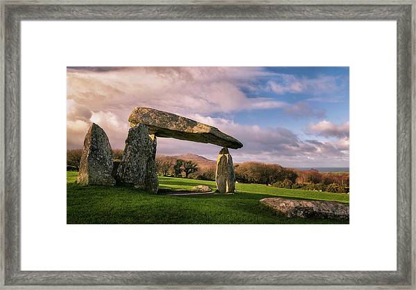 Framed Print featuring the photograph Pentre Ifan Burial Chamber by Elliott Coleman