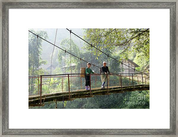People And Children From Sapa, Mountainous Area Of Northern Vietnam In Their Daily Life. Framed Print
