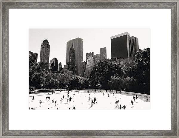 People Ice Skating In Park, Elevated Framed Print