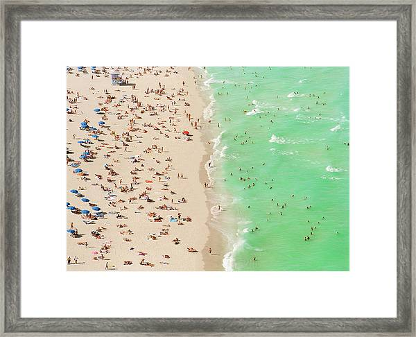 People On Beach An In Water, Aerial View Framed Print