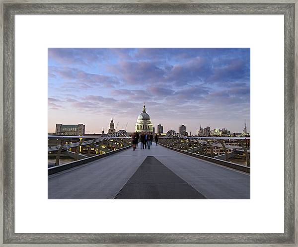 People On Millennium Bridge In Front Of Framed Print