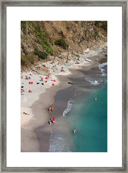 People Relax On Shell Beach Framed Print by Holger Leue
