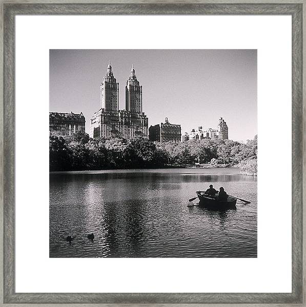 People Rowing Boat New York City Park Framed Print