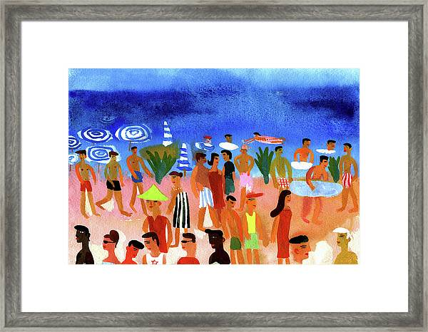 People Walking On Beach And Swimming In Framed Print