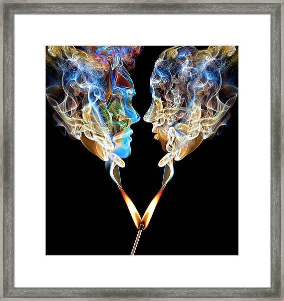 Perfect Match Up In Smoke Framed Print by Jamesbrey