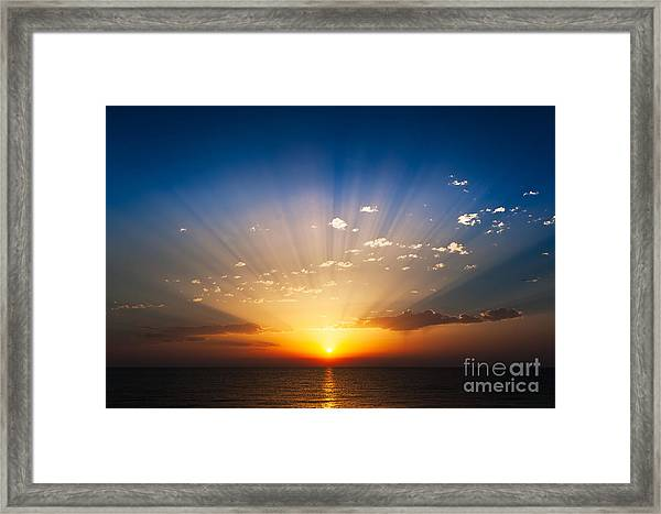 Perfect Sunrise On The Sea, With Framed Print
