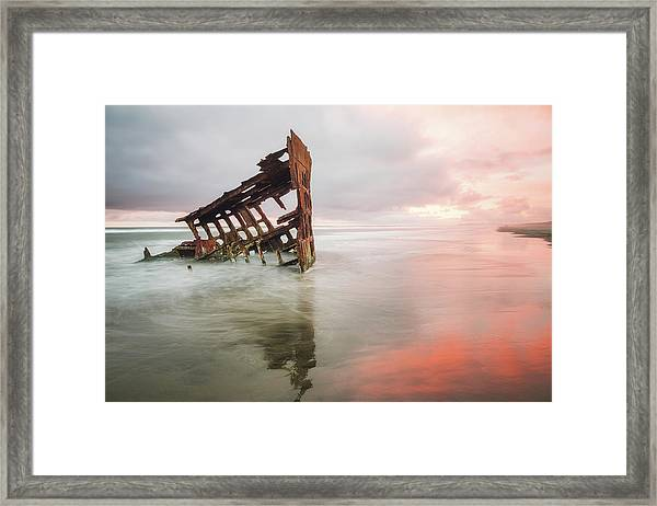Framed Print featuring the photograph Peter Iredale Shipwreck by Nicole Young
