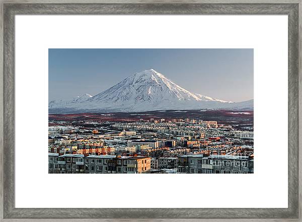 Petropavlovsk-kamchatsky Cityscape And Framed Print by Alex Tihonovs