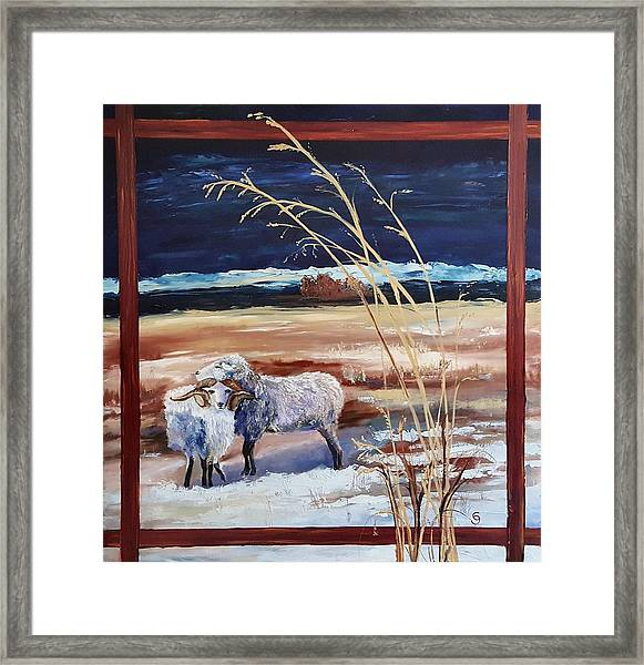 Phil And Alice Navajo Sheep    38 Framed Print