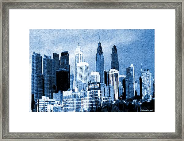Philadelphia Blue - Watercolor Painting Framed Print