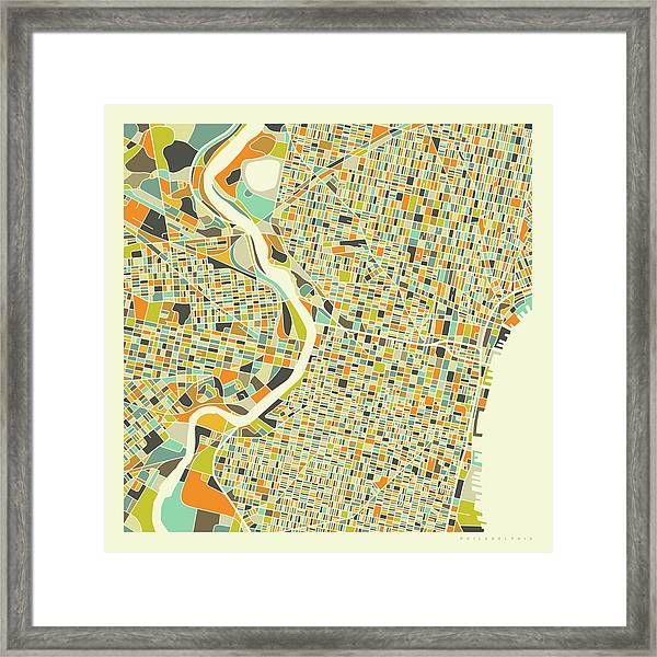 Philadelphia Map 1 Framed Print